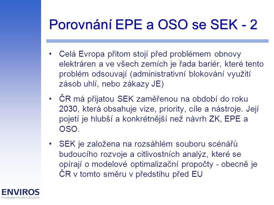 Porovnání EPE a OSO se SEK - 2 Celá Evropa přitom stojí před problémem obnovy elektráren a ve všech zemích je řada bariér, které tento problém odsouva