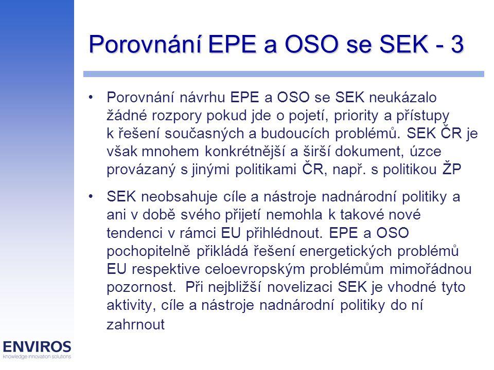 Porovnání EPE a OSO se SEK - 3 Porovnání návrhu EPE a OSO se SEK neukázalo žádné rozpory pokud jde o pojetí, priority a přístupy k řešení současných a