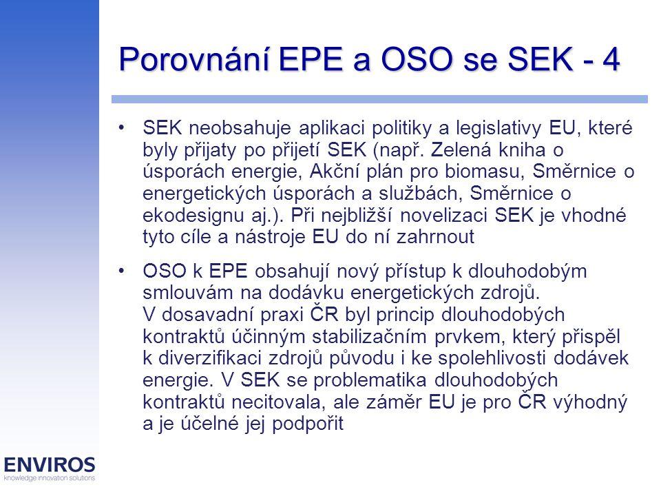 Porovnání EPE a OSO se SEK - 4 SEK neobsahuje aplikaci politiky a legislativy EU, které byly přijaty po přijetí SEK (např. Zelená kniha o úsporách ene