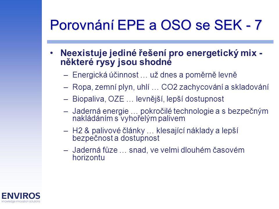 Porovnání EPE a OSO se SEK - 7 Neexistuje jediné řešení pro energetický mix - některé rysy jsou shodné –Energická účinnost … už dnes a poměrně levně –