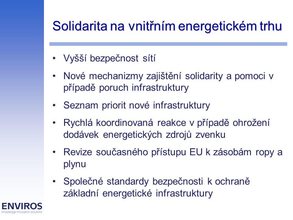 Vnější politika k zásobování energií Komplexní strategický přezkum energetiky v EU Mezinárodní dohody o energetické účinnosti Dialog s producenty a dodavateli energie Pan-evropská smlouva o energiích Rychlá ratifikace Energetické charty EU v Rusku a uzavření tranzitního protokolu Omezení růstu závislosti EU na vnějších energetických zdrojích Vedoucí role EU v debatě o klimatických změnách