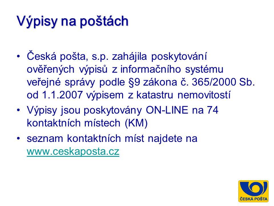 Výpisy na poštách Česká pošta, s.p. zahájila poskytování ověřených výpisů z informačního systému veřejné správy podle §9 zákona č. 365/2000 Sb. od 1.1