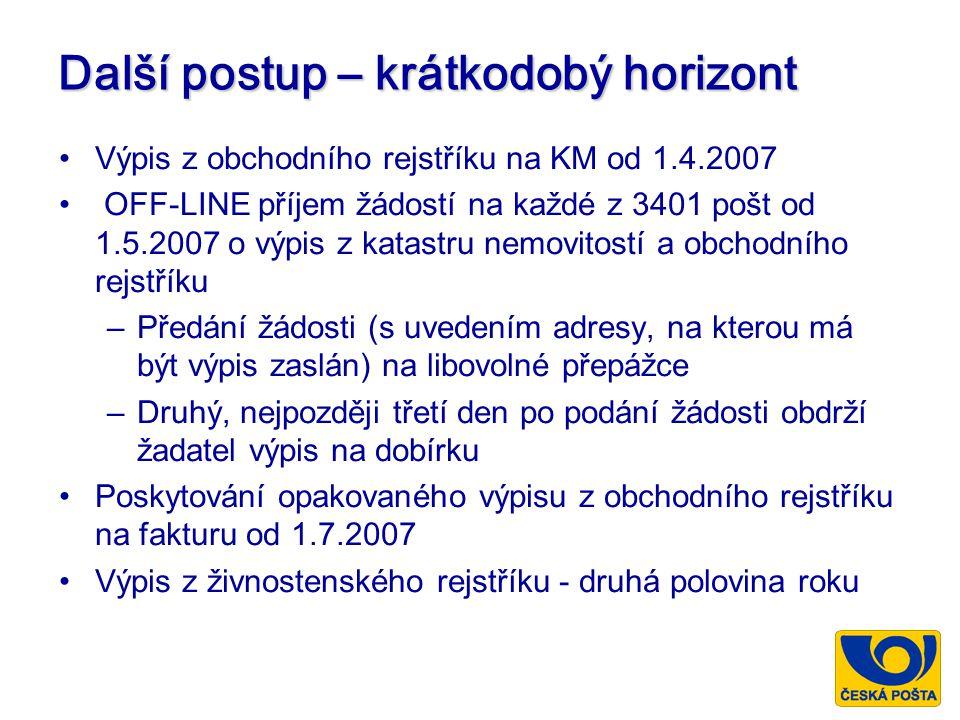 Další postup – krátkodobý horizont Výpis z obchodního rejstříku na KM od 1.4.2007 OFF-LINE příjem žádostí na každé z 3401 pošt od 1.5.2007 o výpis z katastru nemovitostí a obchodního rejstříku –Předání žádosti (s uvedením adresy, na kterou má být výpis zaslán) na libovolné přepážce –Druhý, nejpozději třetí den po podání žádosti obdrží žadatel výpis na dobírku Poskytování opakovaného výpisu z obchodního rejstříku na fakturu od 1.7.2007 Výpis z živnostenského rejstříku - druhá polovina roku