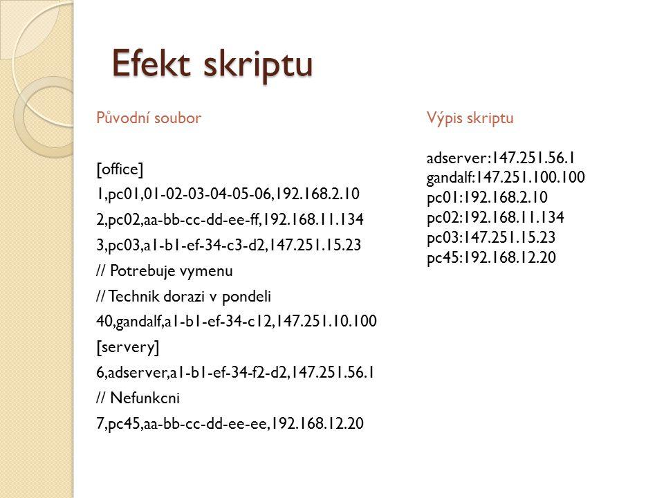 Efekt skriptu Původní soubor [office] 1,pc01,01-02-03-04-05-06,192.168.2.10 2,pc02,aa-bb-cc-dd-ee-ff,192.168.11.134 3,pc03,a1-b1-ef-34-c3-d2,147.251.15.23 // Potrebuje vymenu // Technik dorazi v pondeli 40,gandalf,a1-b1-ef-34-c12,147.251.10.100 [servery] 6,adserver,a1-b1-ef-34-f2-d2,147.251.56.1 // Nefunkcni 7,pc45,aa-bb-cc-dd-ee-ee,192.168.12.20 Výpis skriptu adserver:147.251.56.1 gandalf:147.251.100.100 pc01:192.168.2.10 pc02:192.168.11.134 pc03:147.251.15.23 pc45:192.168.12.20