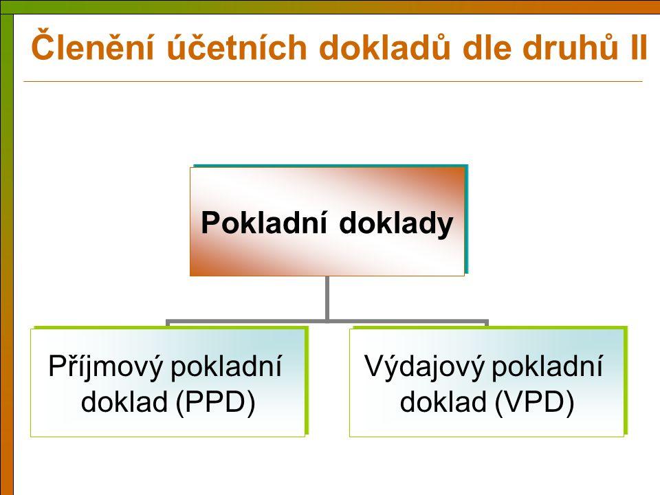 Pokladní doklady Příjmový pokladní doklad (PPD) Výdajový pokladní doklad (VPD) Členění účetních dokladů dle druhů II