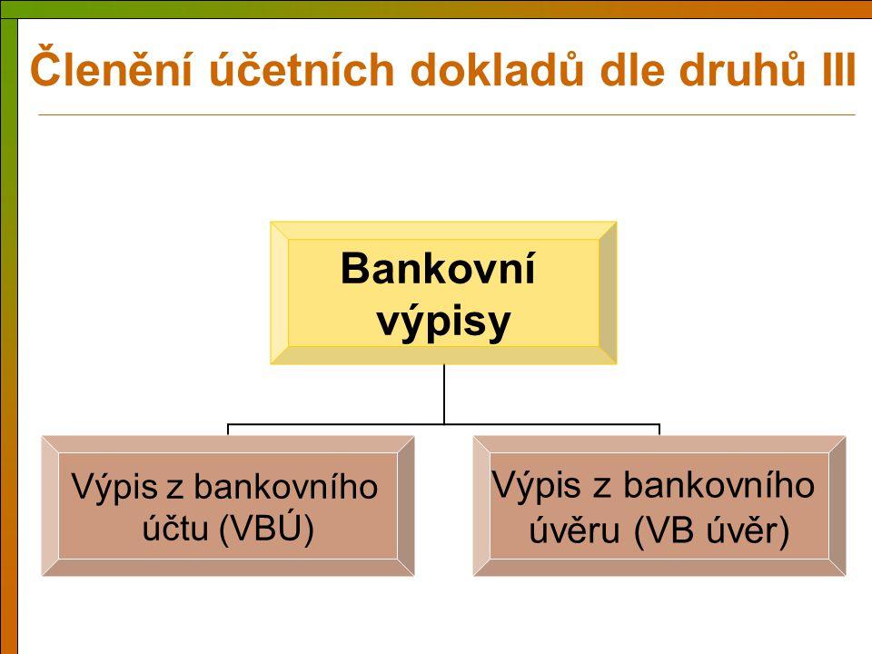 Bankovní výpisy Výpis z bankovního účtu (VBÚ) Výpis z bankovního úvěru (VB úvěr) Členění účetních dokladů dle druhů III