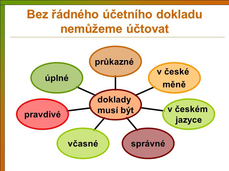 Bez řádného účetního dokladu nemůžeme účtovat doklady musí být průkazné v české měně v českém jazyce správnévčasnépravdivéúplné