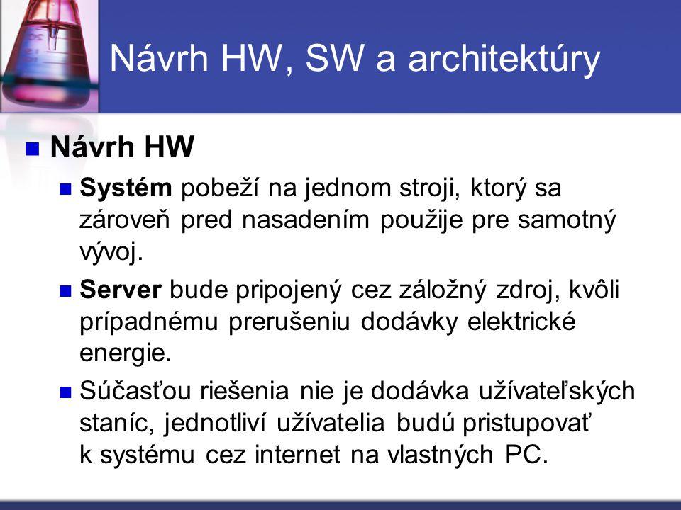 Návrh HW, SW a architektúry Návrh HW Systém pobeží na jednom stroji, ktorý sa zároveň pred nasadením použije pre samotný vývoj. Server bude pripojený