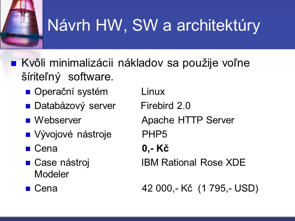 Návrh HW, SW a architektúry Kvôli minimalizácii nákladov sa použije voľne šíriteľný software. Operační systém Linux Databázový server Firebird 2.0 Web