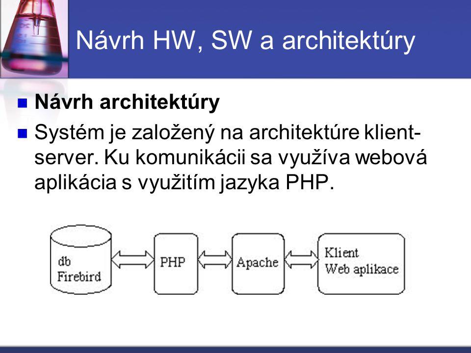 Návrh HW, SW a architektúry Návrh architektúry Systém je založený na architektúre klient- server. Ku komunikácii sa využíva webová aplikácia s využití