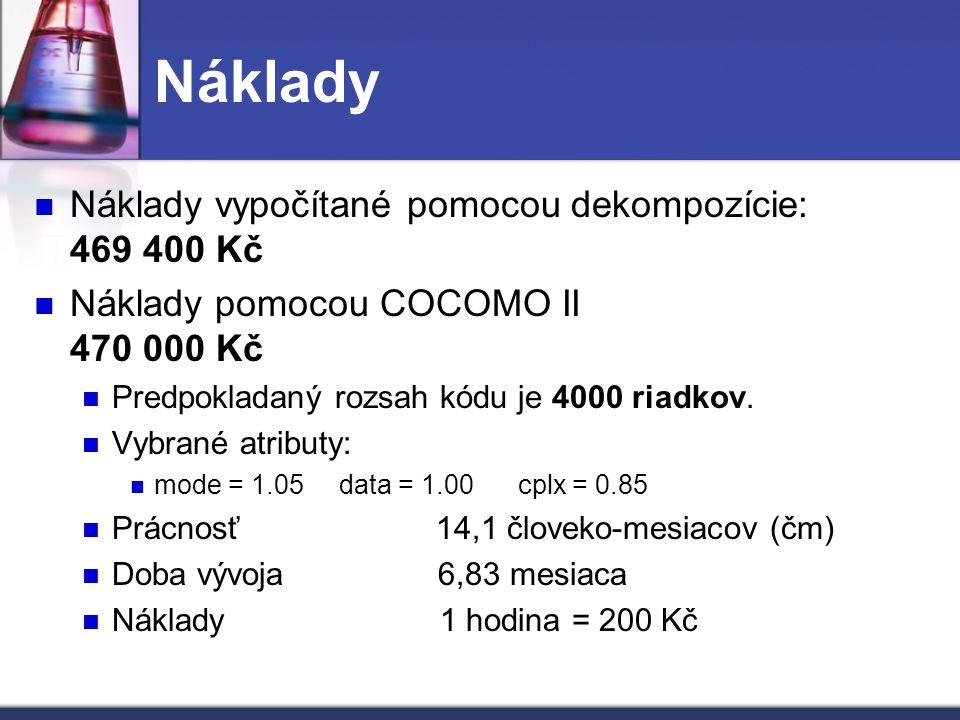 Náklady Náklady vypočítané pomocou dekompozície: 469 400 Kč Náklady pomocou COCOMO II 470 000 Kč Predpokladaný rozsah kódu je 4000 riadkov. Vybrané at