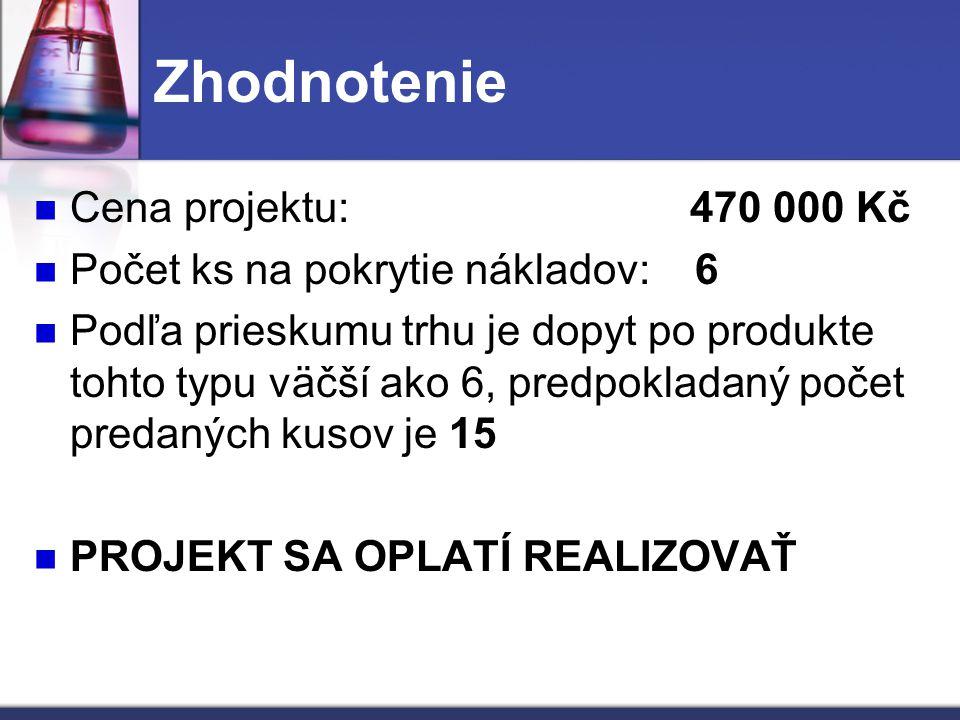 Zhodnotenie Cena projektu: 470 000 Kč Počet ks na pokrytie nákladov: 6 Podľa prieskumu trhu je dopyt po produkte tohto typu väčší ako 6, predpokladaný