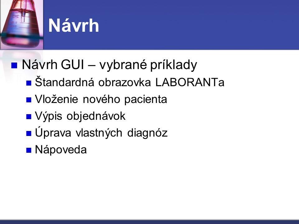 Návrh GUI – vybrané príklady Štandardná obrazovka LABORANTa Vloženie nového pacienta Výpis objednávok Úprava vlastných diagnóz Nápoveda