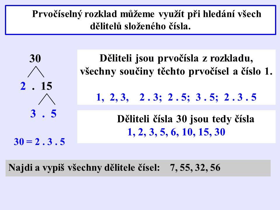 Prvočíselný rozklad můžeme využít při hledání všech dělitelů složeného čísla. 30 2. 15 3. 5 30 = 2. 3. 5 Děliteli jsou prvočísla z rozkladu, všechny s