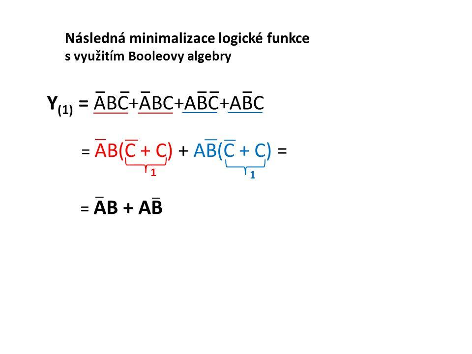 = AB + AB = AB(C + C) + AB(C + C) = Y (1) = ABC+ABC+ABC+ABC Následná minimalizace logické funkce s využitím Booleovy algebry 1 1