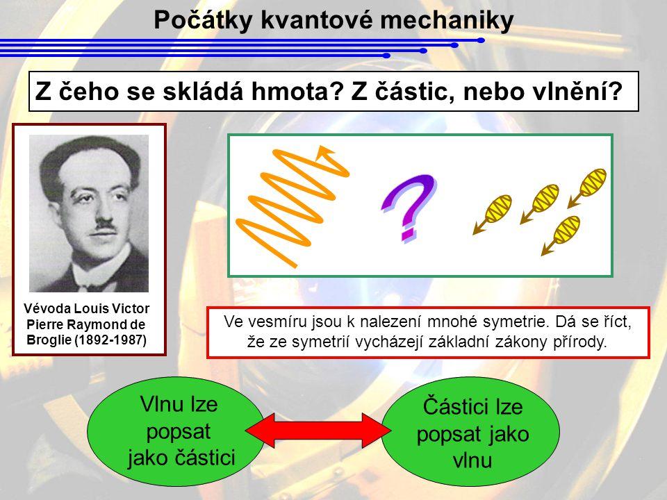 Počátky kvantové mechaniky Z čeho se skládá hmota? Z částic, nebo vlnění? Vévoda Louis Victor Pierre Raymond de Broglie (1892-1987) Ve vesmíru jsou k