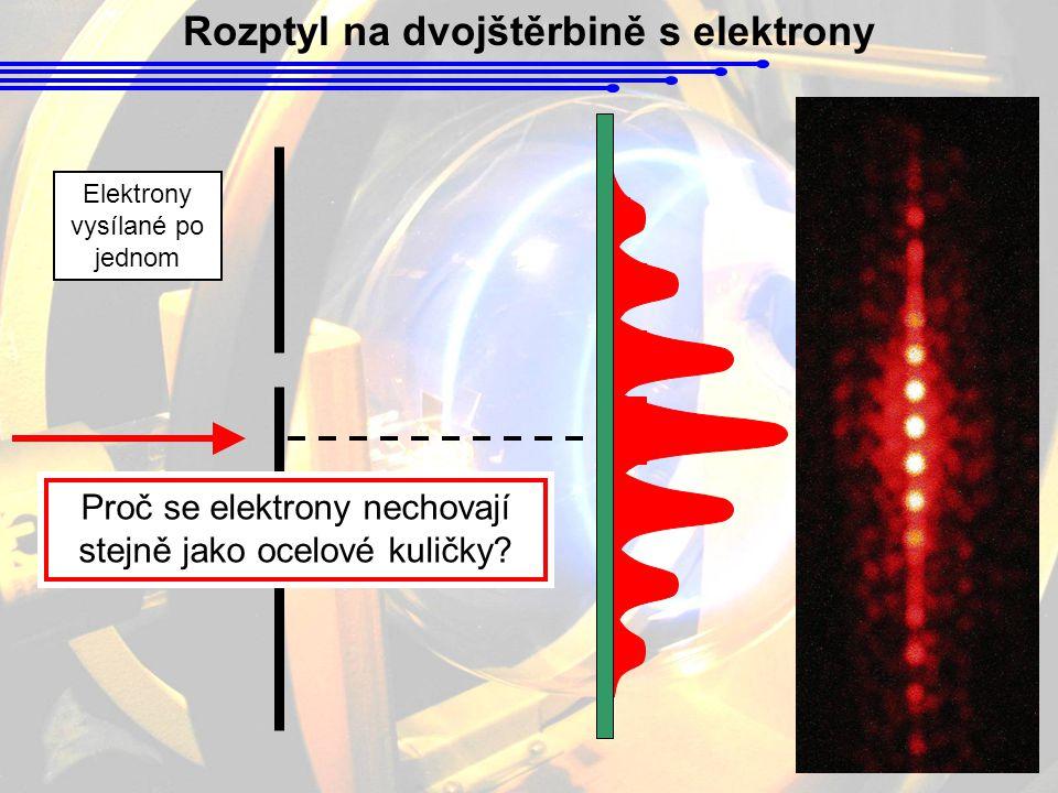 Rozptyl na dvojštěrbině s elektrony Elektrony vysílané po jednom Proč se elektrony nechovají stejně jako ocelové kuličky?