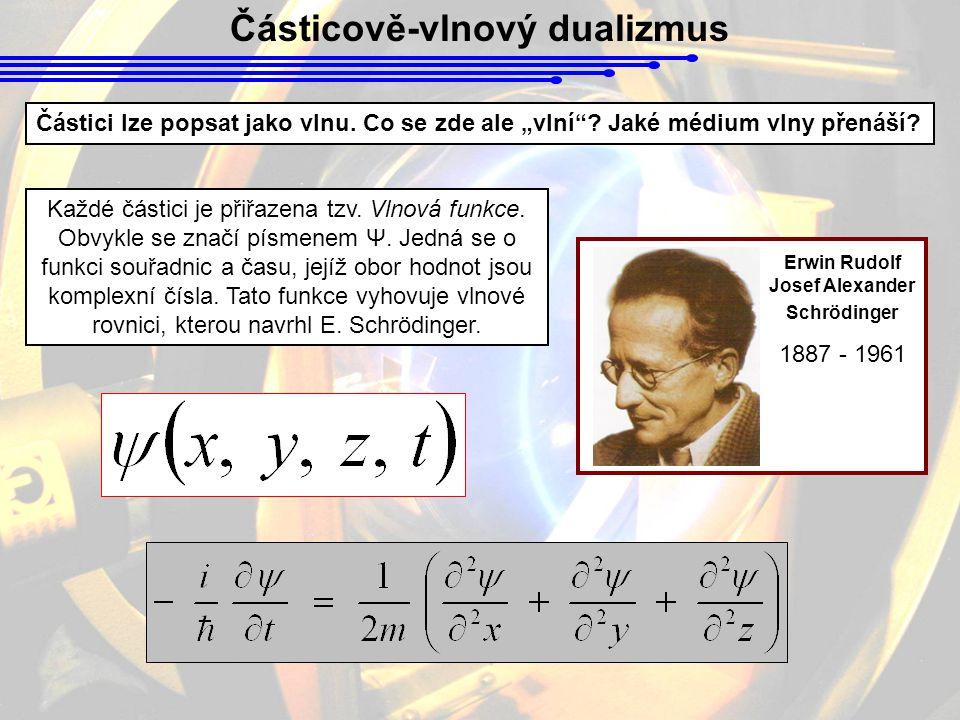 """Částicově-vlnový dualizmus Částici lze popsat jako vlnu. Co se zde ale """"vlní""""? Jaké médium vlny přenáší? Každé částici je přiřazena tzv. Vlnová funkce"""