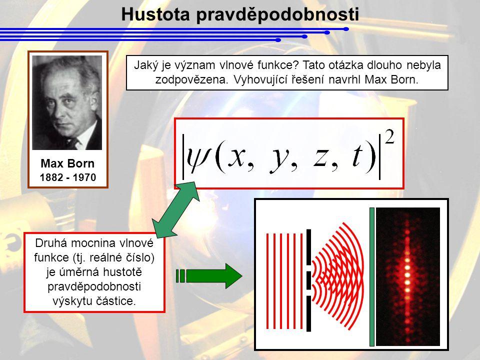 Hustota pravděpodobnosti Jaký je význam vlnové funkce? Tato otázka dlouho nebyla zodpovězena. Vyhovující řešení navrhl Max Born. Max Born 1882 - 1970