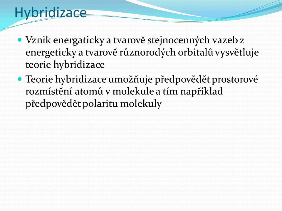 Hybridizace Vznik energaticky a tvarově stejnocenných vazeb z energeticky a tvarově různorodých orbitalů vysvětluje teorie hybridizace Teorie hybridizace umožňuje předpovědět prostorové rozmístění atomů v molekule a tím například předpovědět polaritu molekuly