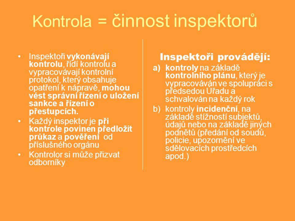 Kontrola = činnost inspektorů Inspektoři vykonávají kontrolu, řídí kontrolu a vypracovávají kontrolní protokol, který obsahuje opatření k nápravě, mohou vést správní řízení o uložení sankce a řízení o přestupcích.