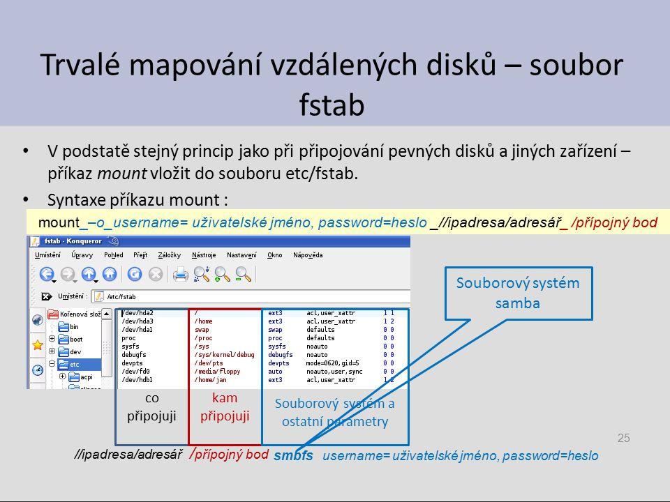 Trvalé mapování vzdálených disků – soubor fstab V podstatě stejný princip jako při připojování pevných disků a jiných zařízení – příkaz mount vložit do souboru etc/fstab.