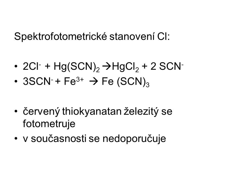Spektrofotometrické stanovení Cl: 2Cl - + Hg(SCN) 2  HgCl 2 + 2 SCN - 3SCN - + Fe 3+  Fe (SCN) 3 červený thiokyanatan železitý se fotometruje v souč