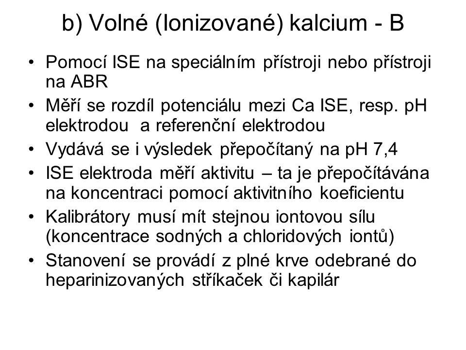 b) Volné (Ionizované) kalcium - B Pomocí ISE na speciálním přístroji nebo přístroji na ABR Měří se rozdíl potenciálu mezi Ca ISE, resp. pH elektrodou