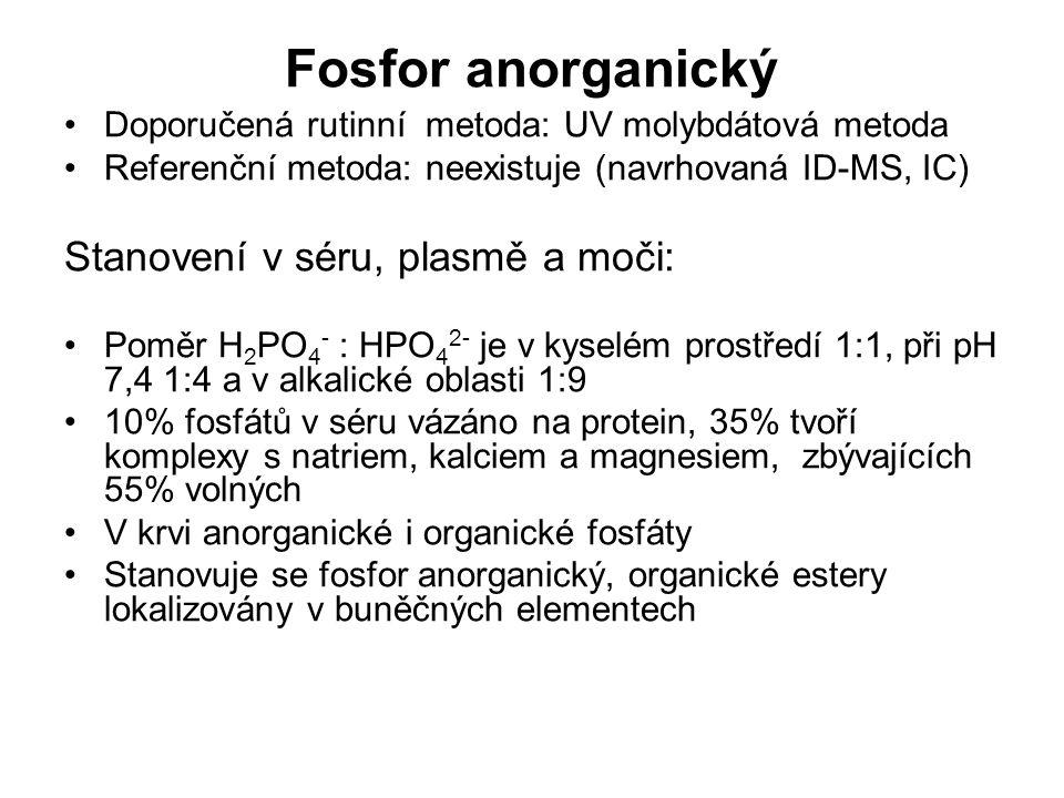 Fosfor anorganický Doporučená rutinní metoda: UV molybdátová metoda Referenční metoda: neexistuje (navrhovaná ID-MS, IC) Stanovení v séru, plasmě a mo