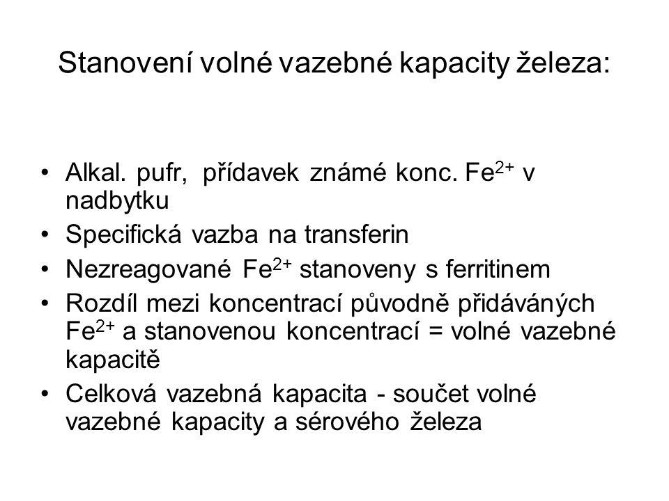 Stanovení volné vazebné kapacity železa: Alkal. pufr, přídavek známé konc. Fe 2+ v nadbytku Specifická vazba na transferin Nezreagované Fe 2+ stanoven