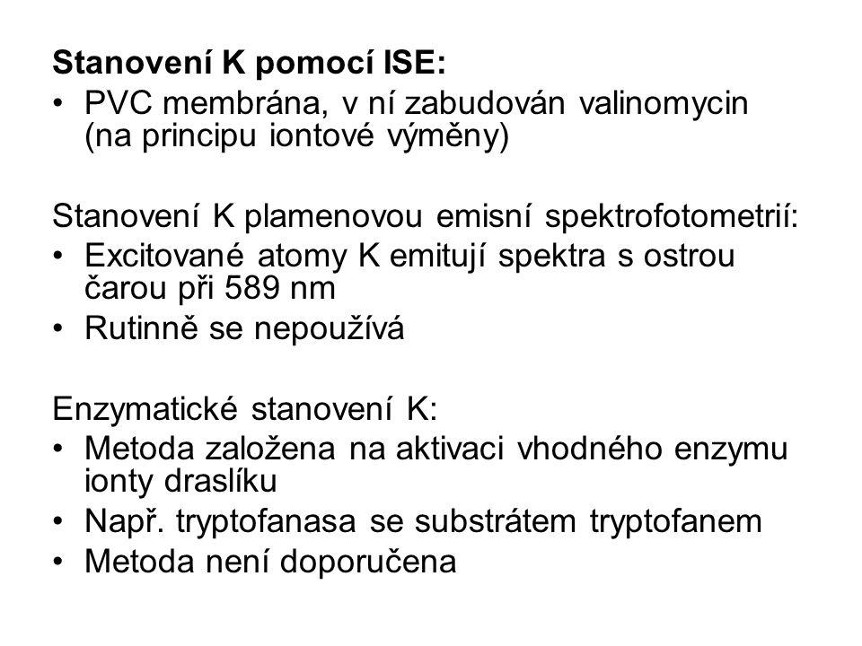 Stanovení K pomocí ISE: PVC membrána, v ní zabudován valinomycin (na principu iontové výměny) Stanovení K plamenovou emisní spektrofotometrií: Excitov