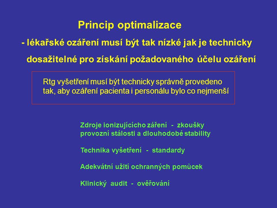 Princip optimalizace - lékařské ozáření musí být tak nízké jak je technicky dosažitelné pro získání požadovaného účelu ozáření Rtg vyšetření musí být