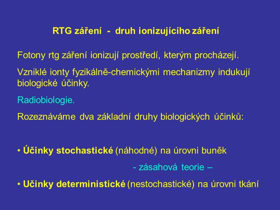RTG záření - druh ionizujícího záření Fotony rtg záření ionizují prostředí, kterým procházejí. Vzniklé ionty fyzikálně-chemickými mechanizmy indukují