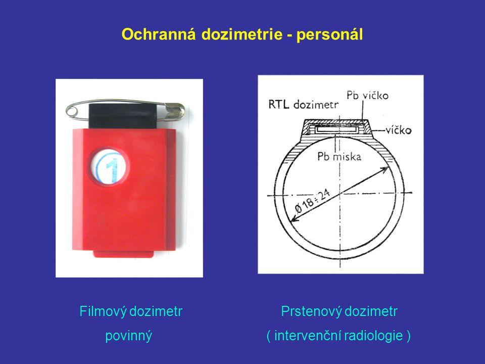 Ochranná dozimetrie - personál Filmový dozimetr Prstenový dozimetr povinný ( intervenční radiologie )