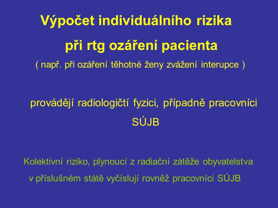 Výpočet individuálního rizika při rtg ozáření pacienta ( např. při ozáření těhotné ženy zvážení interupce ) provádějí radiologičtí fyzici, případně pr