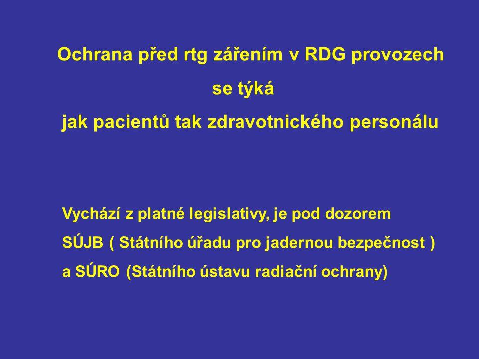 Ochrana před rtg zářením v RDG provozech se týká jak pacientů tak zdravotnického personálu Vychází z platné legislativy, je pod dozorem SÚJB ( Státníh