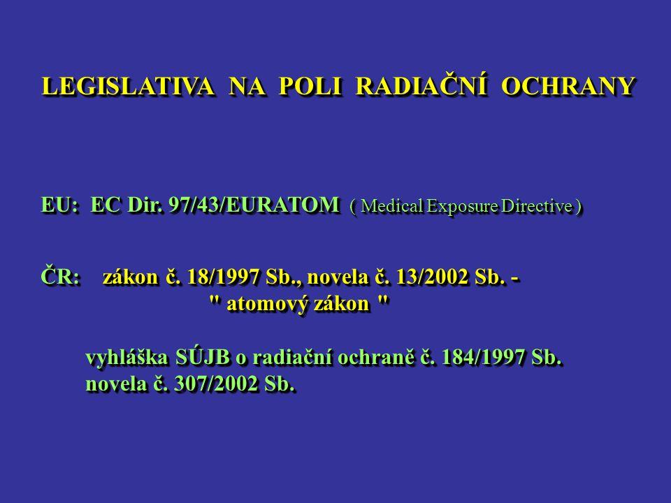 LEGISLATIVA NA POLI RADIAČNÍ OCHRANY EU: EC Dir. 97/43/EURATOM ( Medical Exposure Directive ) EU: EC Dir. 97/43/EURATOM ( Medical Exposure Directive )