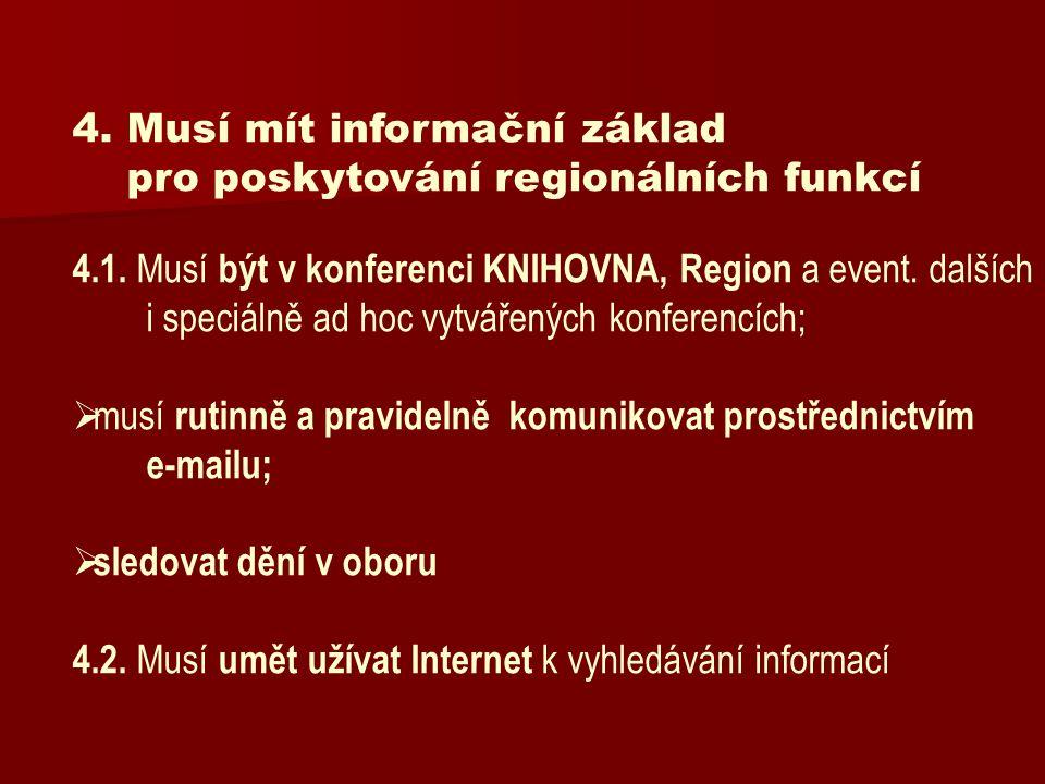 4. Musí mít informační základ pro poskytování regionálních funkcí 4.1. Musí být v konferenci KNIHOVNA, Region a event. dalších i speciálně ad hoc vytv