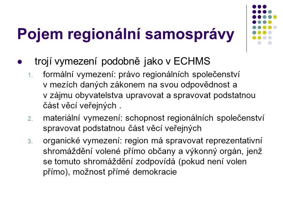 Pojem regionální samosprávy trojí vymezení podobně jako v ECHMS 1. formální vymezení: právo regionálních společenství v mezích daných zákonem na svou