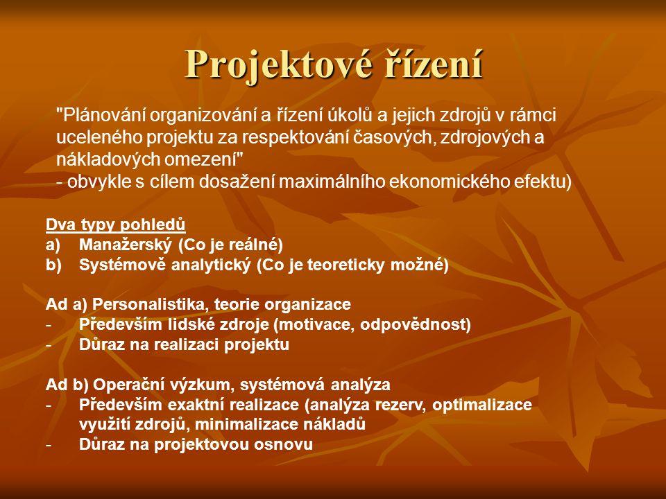 Dva typy pohledů a)Manažerský (Co je reálné) b)Systémově analytický (Co je teoreticky možné) Ad a) Personalistika, teorie organizace -Především lidské zdroje (motivace, odpovědnost) -Důraz na realizaci projektu Ad b) Operační výzkum, systémová analýza -Především exaktní realizace (analýza rezerv, optimalizace využití zdrojů, minimalizace nákladů -Důraz na projektovou osnovu Projektové řízení Plánování organizování a řízení úkolů a jejich zdrojů v rámci uceleného projektu za respektování časových, zdrojových a nákladových omezení - obvykle s cílem dosažení maximálního ekonomického efektu)