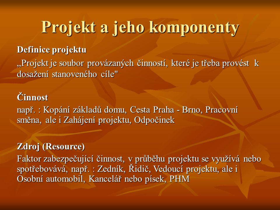 """Projekt a jeho komponenty Definice projektu """"Projekt je soubor provázaných činností, které je třeba provést k dosažení stanoveného cíle Činnost např."""