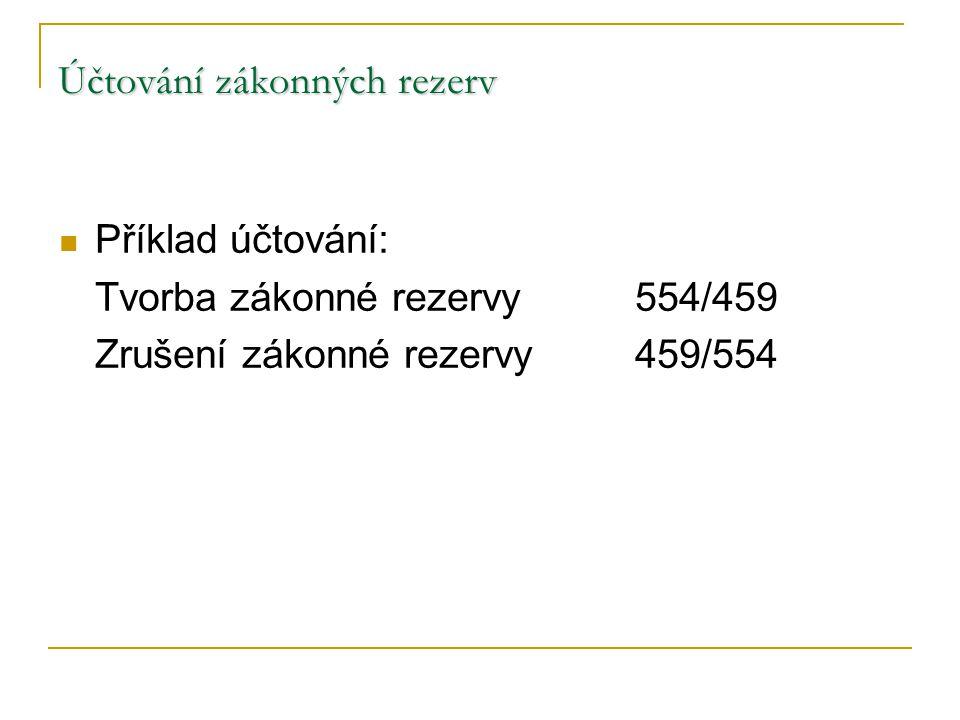 Účtování zákonných rezerv Příklad účtování: Tvorba zákonné rezervy554/459 Zrušení zákonné rezervy459/554