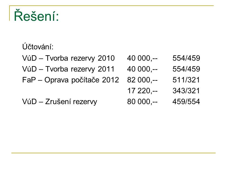 Řešení: Účtování: VúD – Tvorba rezervy 201040 000,--554/459 VúD – Tvorba rezervy 201140 000,--554/459 FaP – Oprava počítače 201282 000,--511/321 17 220,--343/321 VúD – Zrušení rezervy 80 000,--459/554
