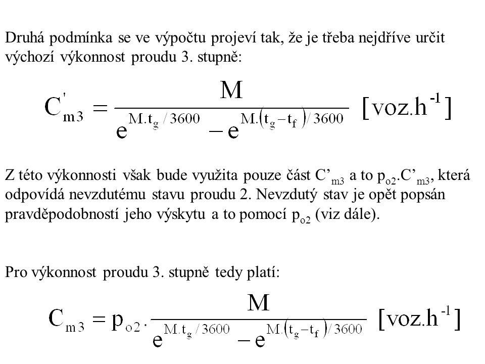 Druhá podmínka se ve výpočtu projeví tak, že je třeba nejdříve určit výchozí výkonnost proudu 3. stupně: Z této výkonnosti však bude využita pouze čás