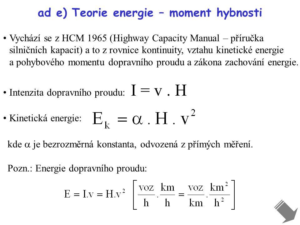 ad e) Teorie energie – moment hybnosti Vychází se z HCM 1965 (Highway Capacity Manual – příručka silničních kapacit) a to z rovnice kontinuity, vztahu