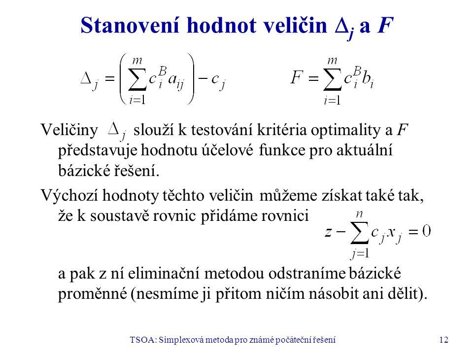 TSOA: Simplexová metoda pro známé počáteční řešení12 Stanovení hodnot veličin  j a F Veličiny slouží k testování kritéria optimality a F představuje