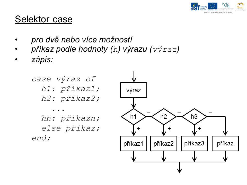 Selektor case pro dvě nebo více možností příkaz podle hodnoty ( h ) výrazu ( výraz ) zápis: case výraz of h1: příkaz1; h2: příkaz2;...