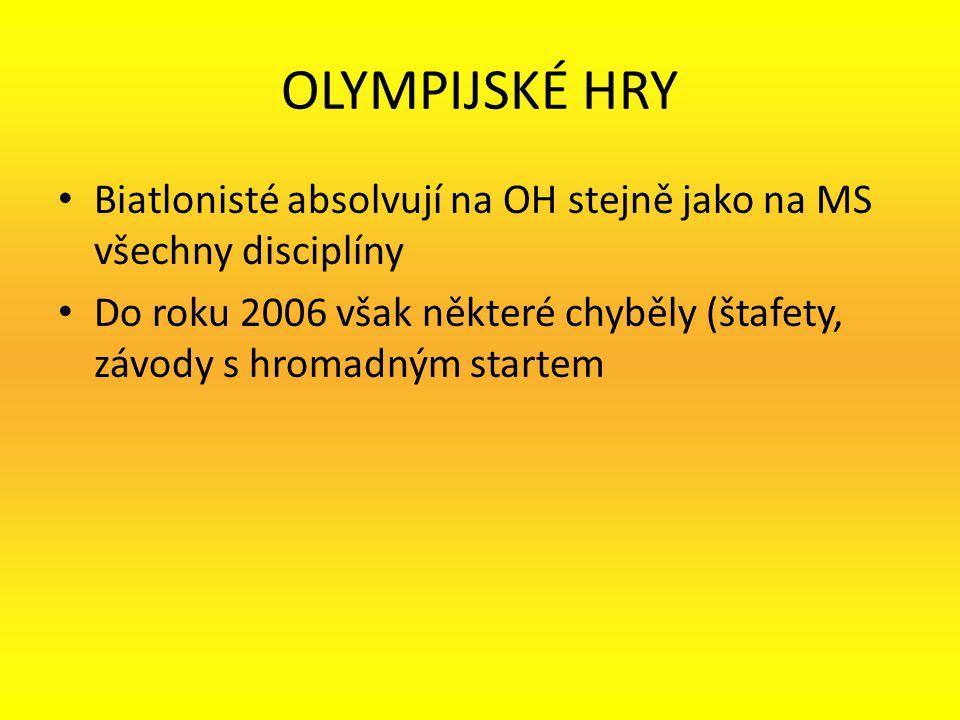 OLYMPIJSKÉ HRY Biatlonisté absolvují na OH stejně jako na MS všechny disciplíny Do roku 2006 však některé chyběly (štafety, závody s hromadným startem