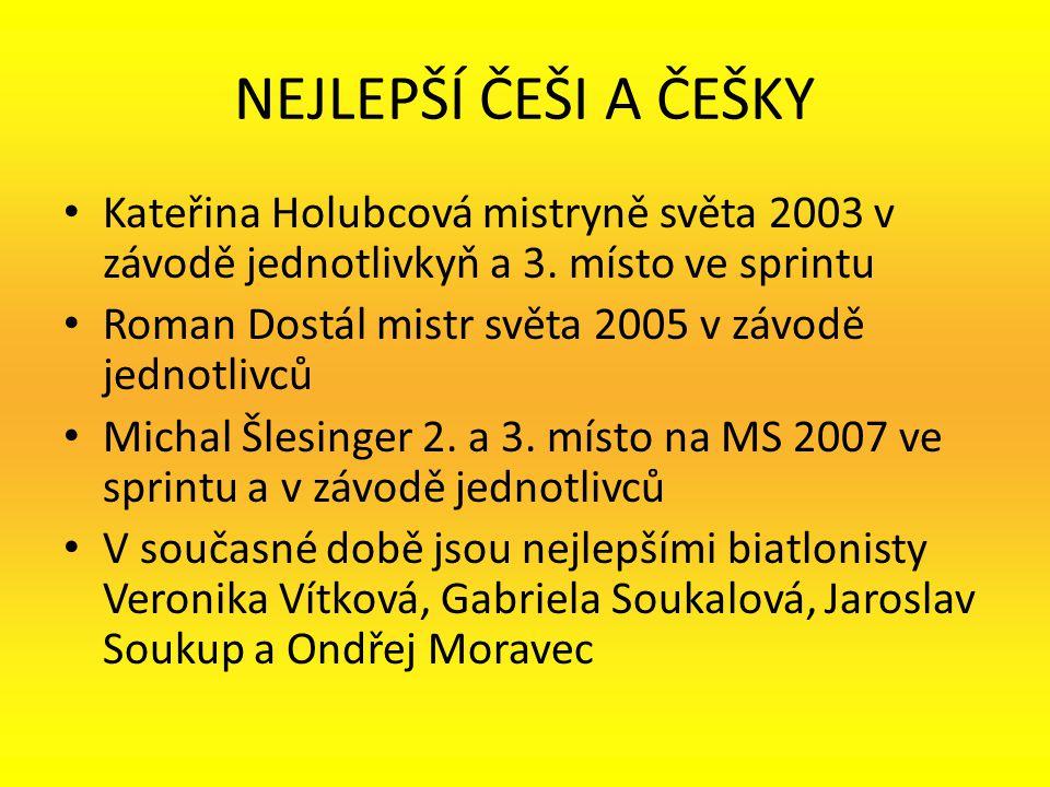 NEJLEPŠÍ ČEŠI A ČEŠKY Kateřina Holubcová mistryně světa 2003 v závodě jednotlivkyň a 3. místo ve sprintu Roman Dostál mistr světa 2005 v závodě jednot