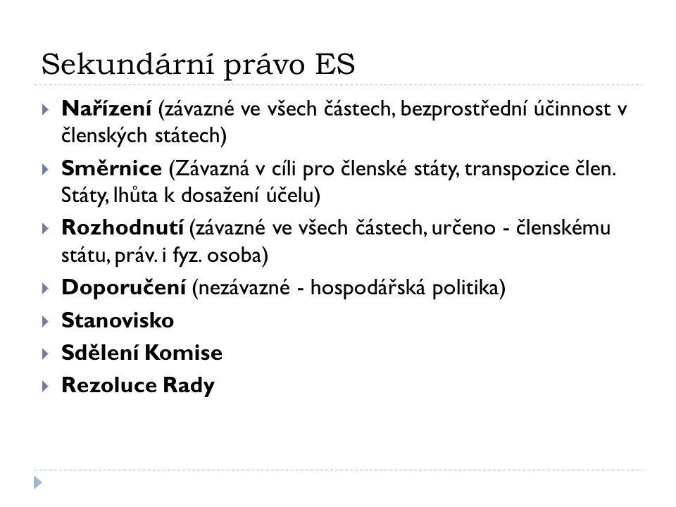 Sekundární právo ES  Nařízení (závazné ve všech částech, bezprostřední účinnost v členských státech)  Směrnice (Závazná v cíli pro členské státy, tr